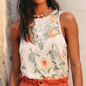 Free People Flower Power Tank Top Embroidered XS
